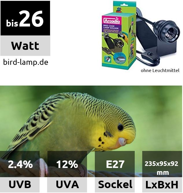 Ardacia Montierset für UV-Kompaktlampen an Vogelkäfigen