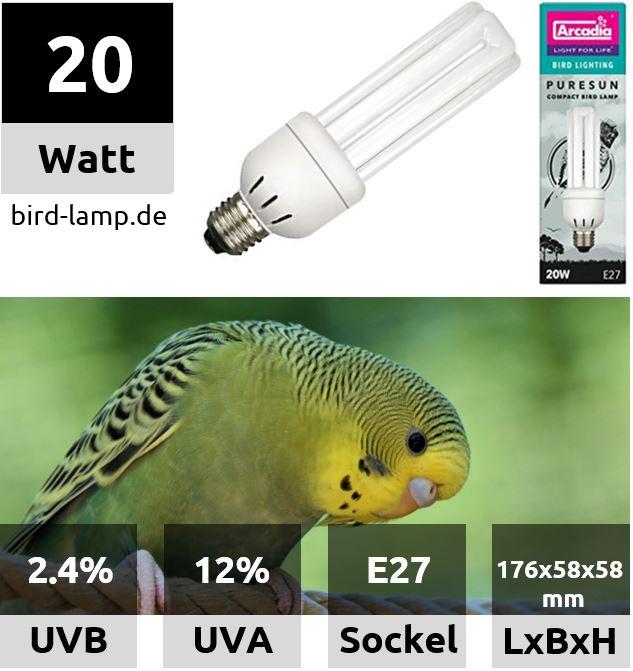 Arcadia Bird Lamp – UV-Kompaktlampe 20W