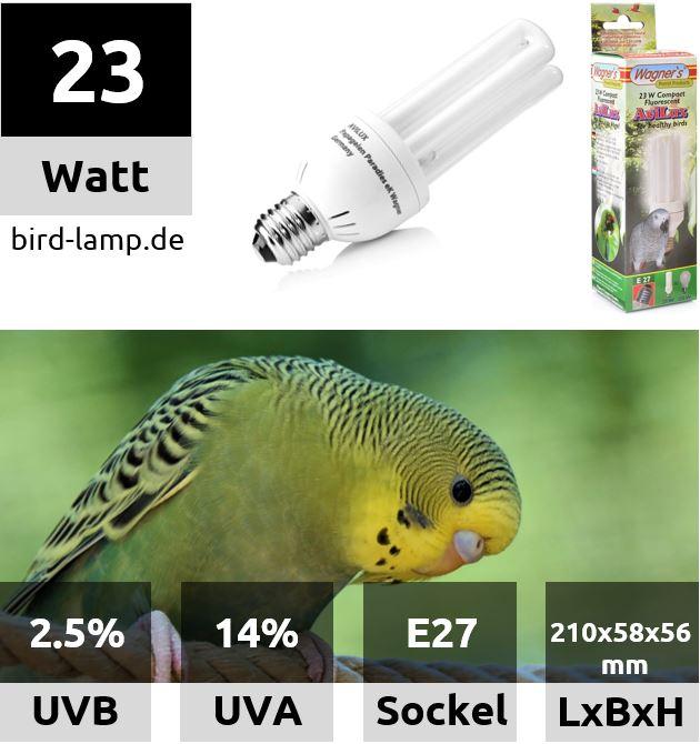 Wagner's Bird Lamp – UV-Kompaktlampe für Vögel 23W
